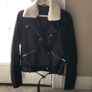 Faux Black Leather Moro Jacket